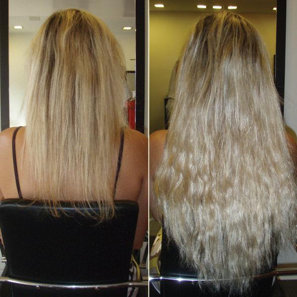 תוספות שיער באמצעות קרטין