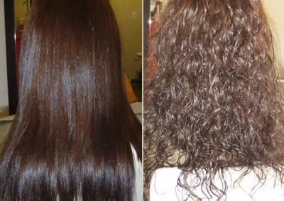 החלקה יפנית לשיער צבוע ומתולתל