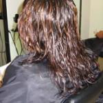 שיער צבוע לפני החלקה יפנית